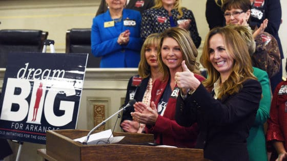 State Sen. Missy Irvin of Mountain View gives a thumbs up after announcing legislative support for the UAMS Cancer Institute's quest to achieve NCI Designation. She is joined by fellow members of the Republican Women's Legislative Caucus, including co-lead sponsor Rep. Michelle Gray (in red jacket).
