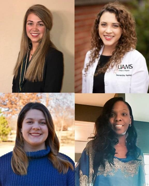 Four students were selected for the 2019 Geriatric Student Scholars program. They are (clockwise from top left) Taylor Bennett, Samantha Pennington, Larreasha Adams and Holly Bennett.