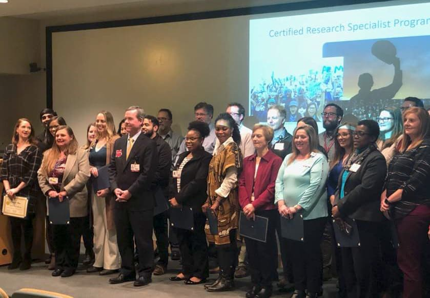 Forty employees were honored at a Jan. 31 ceremony for successfully completing the Certified Research Specialist (CRS) program in 2018.