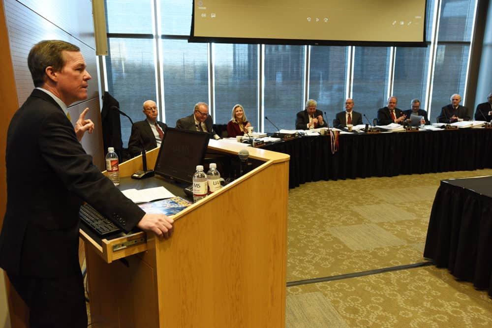 Chancellor Cam Patterson, M.D., MBA, gives the University of Arkansas Board of Trustees an update on UAMS' finances and programs.