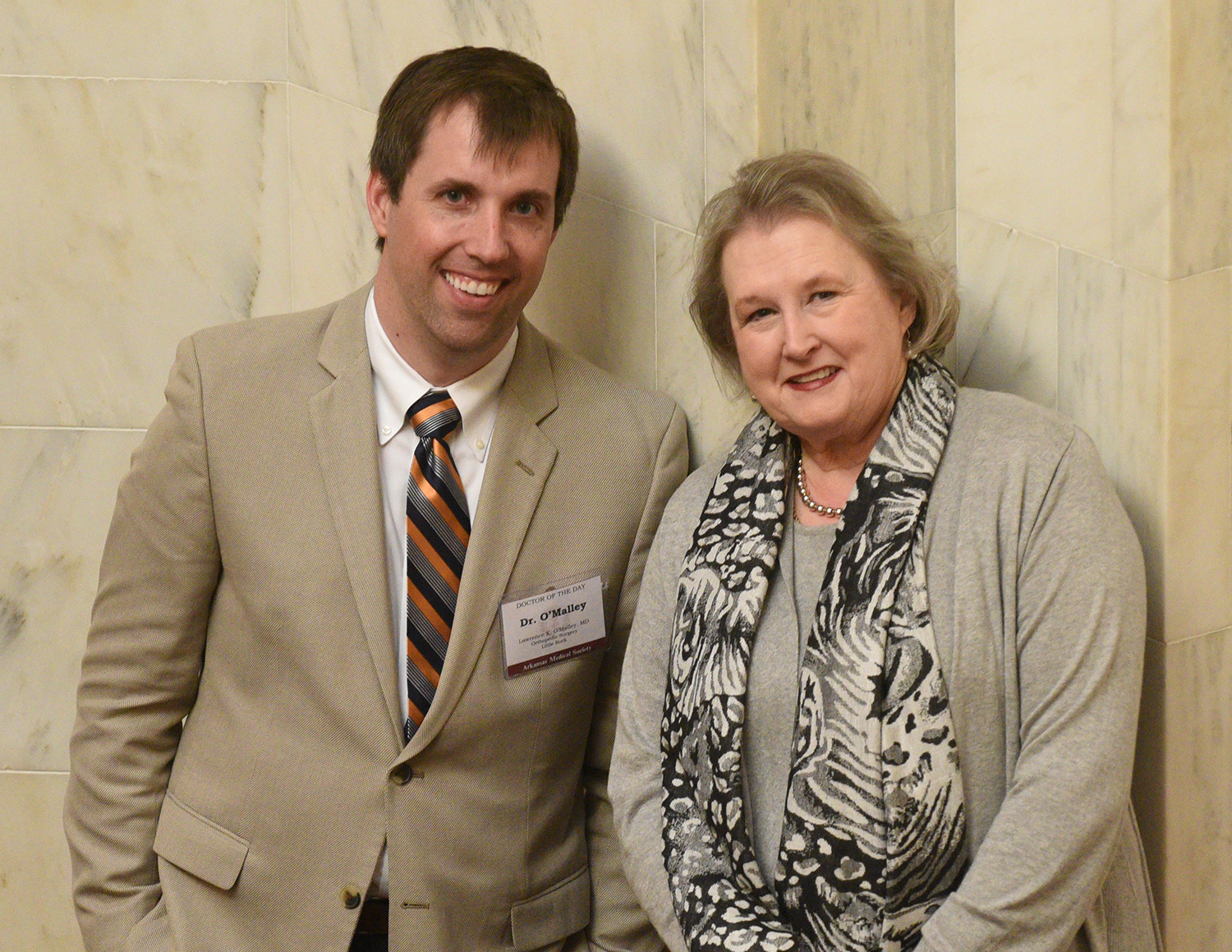 Lawrence O'Malley and Jo Smith at the Arkansas State Capitol.