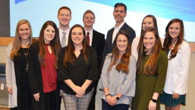 Doug Hoey, CEO of the National Community Pharmacists Association, visits with the leaders of the UAMS College of Pharmacy's NCPA Student Chapter.