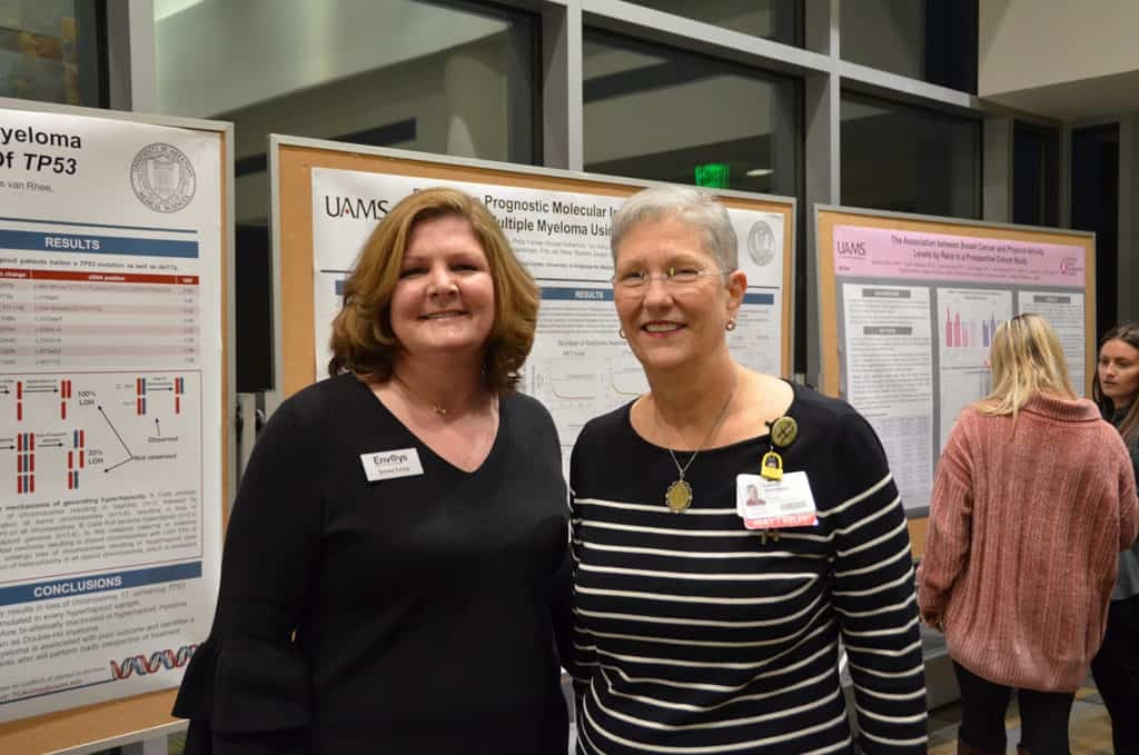 Jenny Long, president of the UAMS Cancer Institute Foundation Envoys, and Laura Hutchins, M.D., Cancer Institute interim director, were on hand to congratulate the Seeds of Science award recipients.