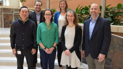 The 2019 Seeds of Science grant recipients from the UAMS Winthrop P. Rockefeller Cancer Institute are (left to right) Zhiqiang Qin, M.D., Ph.D.; Brendan Frett, Ph.D.; Stephanie Byrum, Ph.D.; Samantha Kendrick, Ph.D.; Alicia Byrd, Ph.D.; and Robert Eoff, Ph.D.