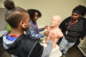 Students got hands-on STEAM education in the UAMS Simulation Center.