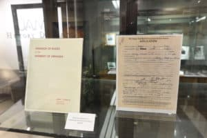 Artifacts preserved in the exhibit include guidelines that ended segregation at the University of Arkansas and an application for admission from Jones.