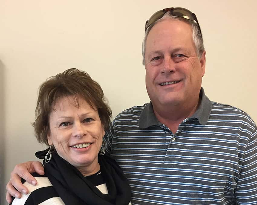 Myeloma patient Laura Drake and husband Marty of Idalou, Texas, celebrate her continued remission annually with a cocktail party in Lubbock with their friends. The party raises awareness of the disease and money, more than $5000, for the Myeloma Center.
