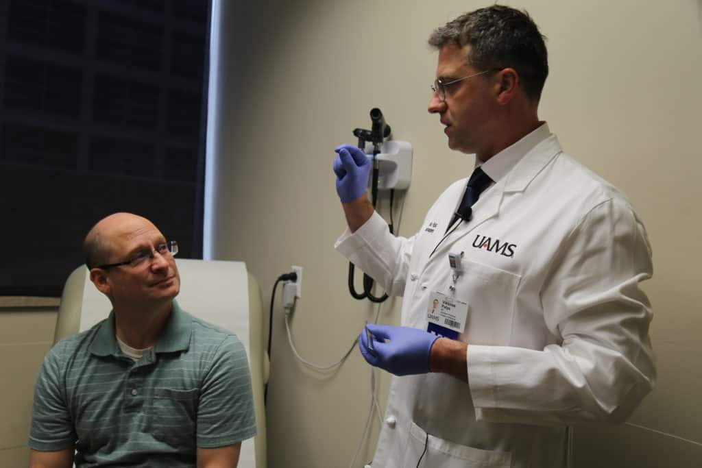 Matthew Pinegar visits Viktoras Palys, M.D. in a follow-up appointment after his RNS Surgery.