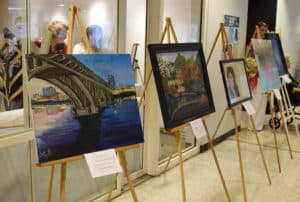 About 30 members of Team UAMS submitted artwork for the first Art from the Heart.