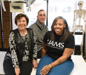 Judy Sims and Drew Ramey, both members of the college's advisory board, served as mentors to Sha'renee Hall, a Radiologic Imaging Sciences student.