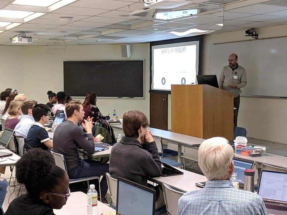 Nearly 40 students from across the state gathered at UAMS during spring break to attend a free genomics workshop March 18-20 where they learned about third-generation sequencing through lectures and hands-on computer work.