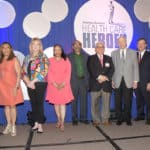 UAMS finalists for Healthcare Hero for 2019 (from left): J.D. Day, M.D.; Gloria Richard-Davis, M.D.; Terry Collins, R.N.; Ronda Henry-Tillman, M.D.; Hari Eswaran, Ph.D.; Purushottam Thapa, M.D.; Joseph Bates, M.D.; C. Lowry Barnes, M.D.; and Bradley Martin, Pharm.D., Ph.D.