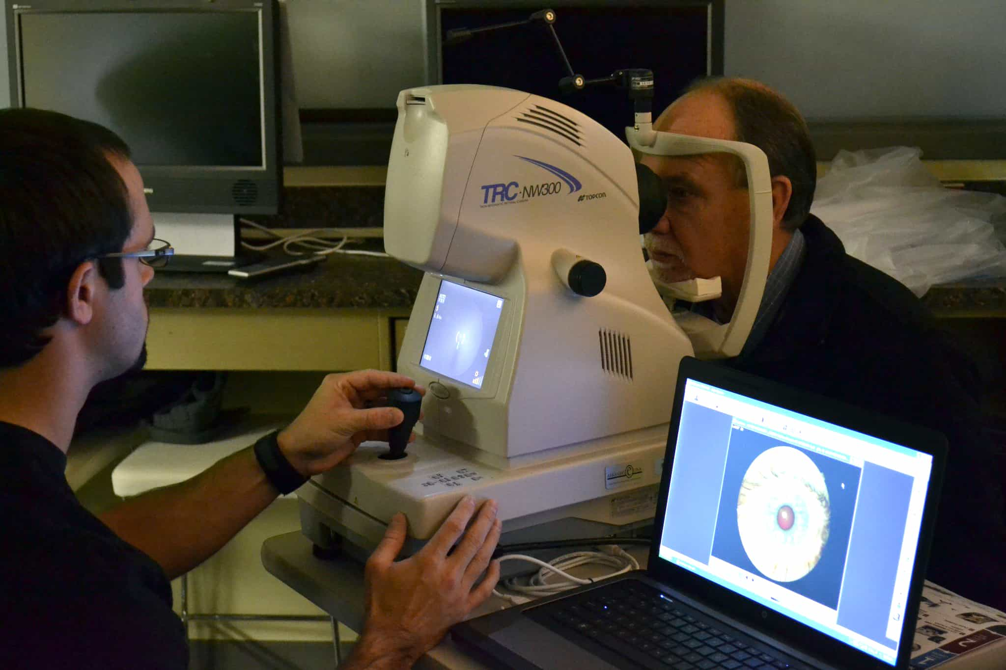 Teleretinal imaging is demonstrated with a special camera. New cameras will take the screening statewide.