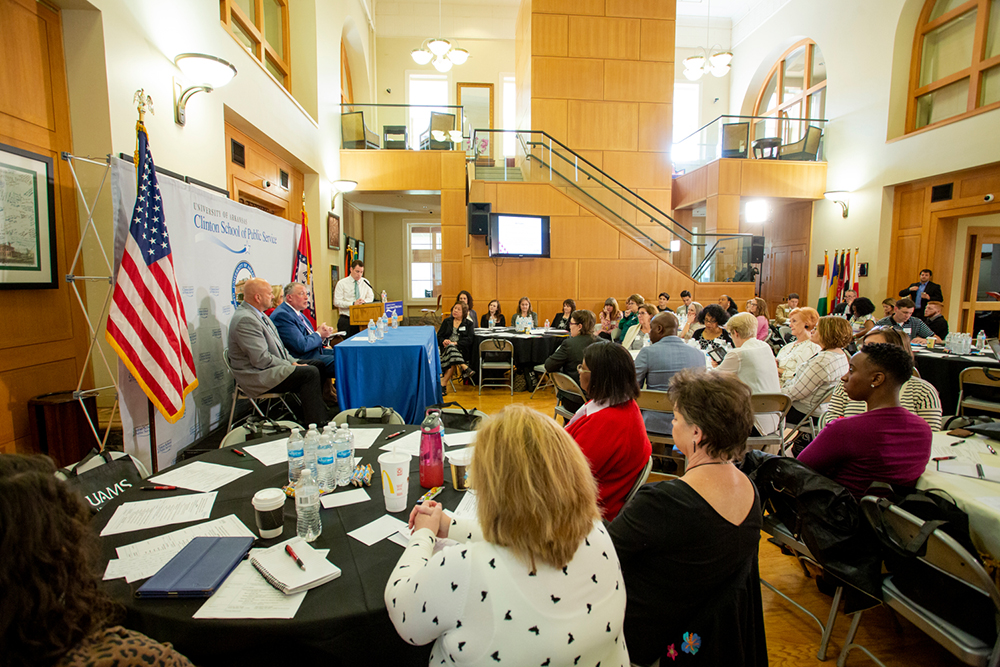 A panel of experts discuss the public health and patient health issues associated with opioid use at the Combating the Opioid Crisis and Chronic Pain education event April 12 at the Clinton School for Public Service.