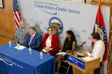 The panel of experts at the event, left to right, are Lane Kirk, Michael Mancino, Teresa Hudson and Masil George, David Lippman, far right, moderated.