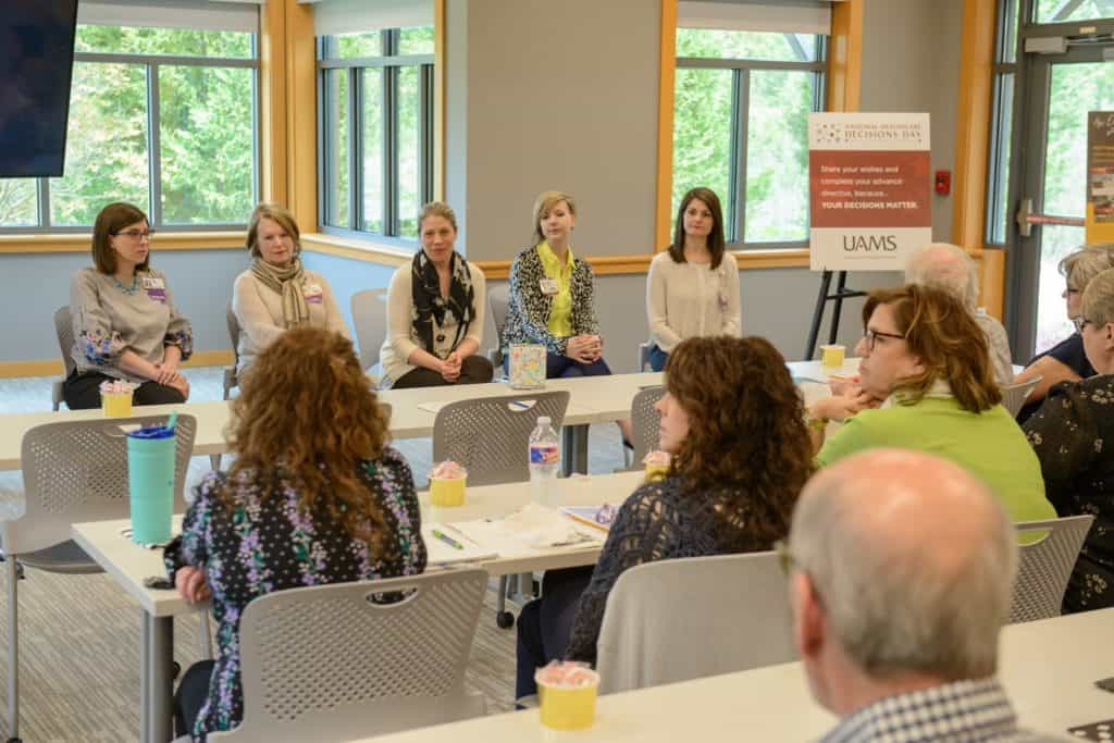 "Members of the UAMS Palliative Care Team discuss advance care planning during a ""lunch and learn"" event for the community."