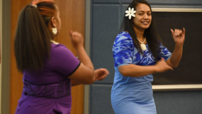 Members of the Ozark Islanders dance group perform at the Asian and Pacific Islander Heritage Month celebration.