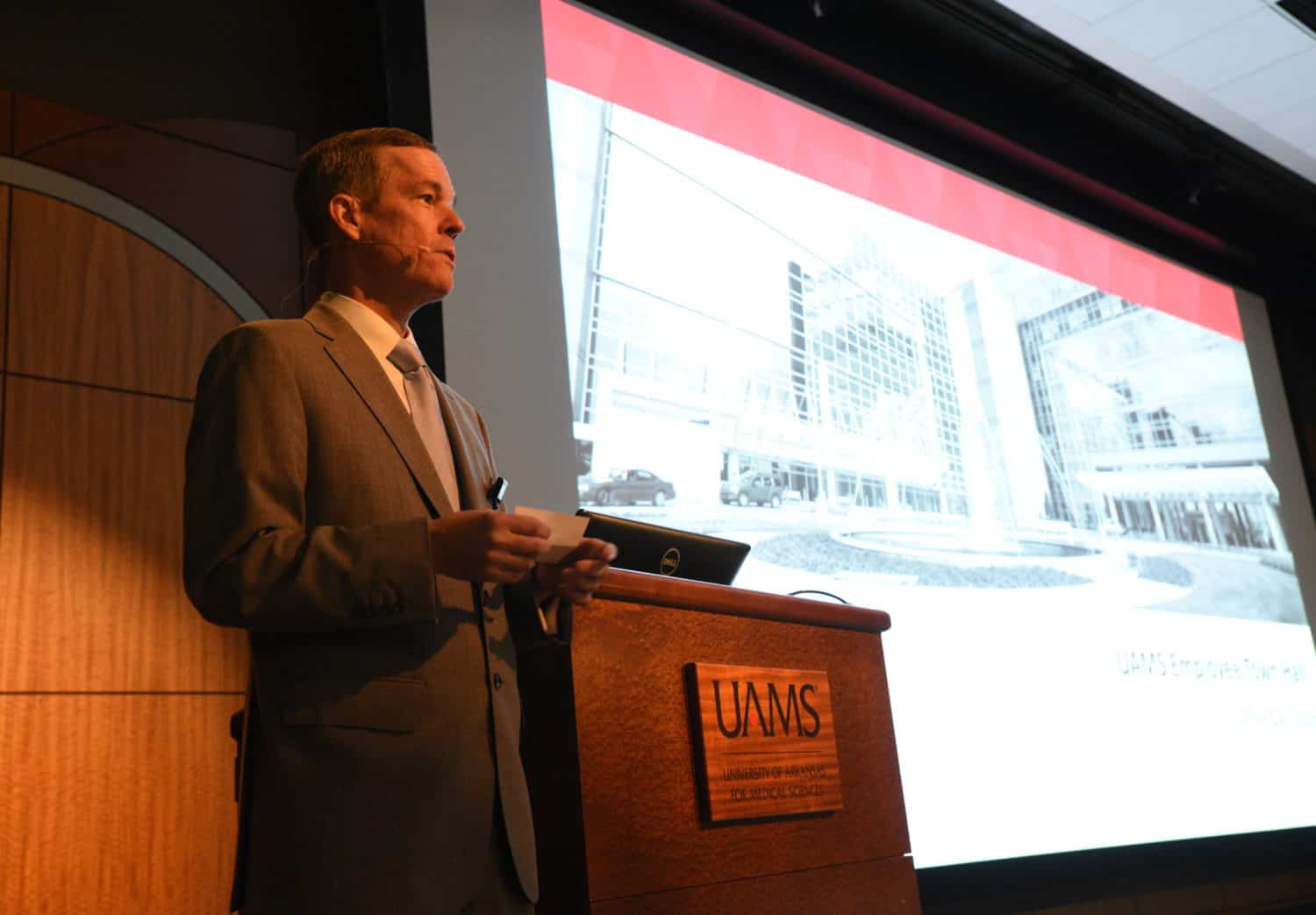 Chancellor Cam Patterson, M.D., MBA, told employees at a May 14 town hall that UAMS has a much brighter financial picture than it did 18 months ago.