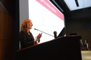 Amanda George, MHSA, CPA, vice chancellor for finance and chief financial officer, told employees that UAMS is running a $34 million budget surplus for the current fiscal year.