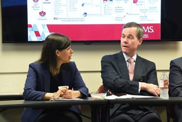 Rosenworcel, left, and Patterson, right, discuss digital health during a series of presentations about the subject.