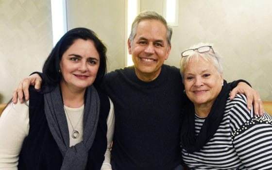 Myeloma Center patient Gail Naimo of Port St. Lucie, Fla., (right) encouraged fellow myeloma patient Sergio Pinango and his wife Blanca Nieto (left) to seek treatment at UAMS. He did and today is in remission with no evidence of the disease.