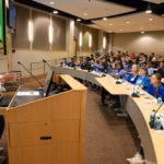 Billy Thomas, M.D., M.P.H., inaugural vice chancellor for diversity and inclusion, welcomes eighth grade students to the Roadmap to Success conference.