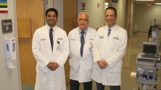 Portrait of Pothineni, Mehta, and Saad in a clinical hallway