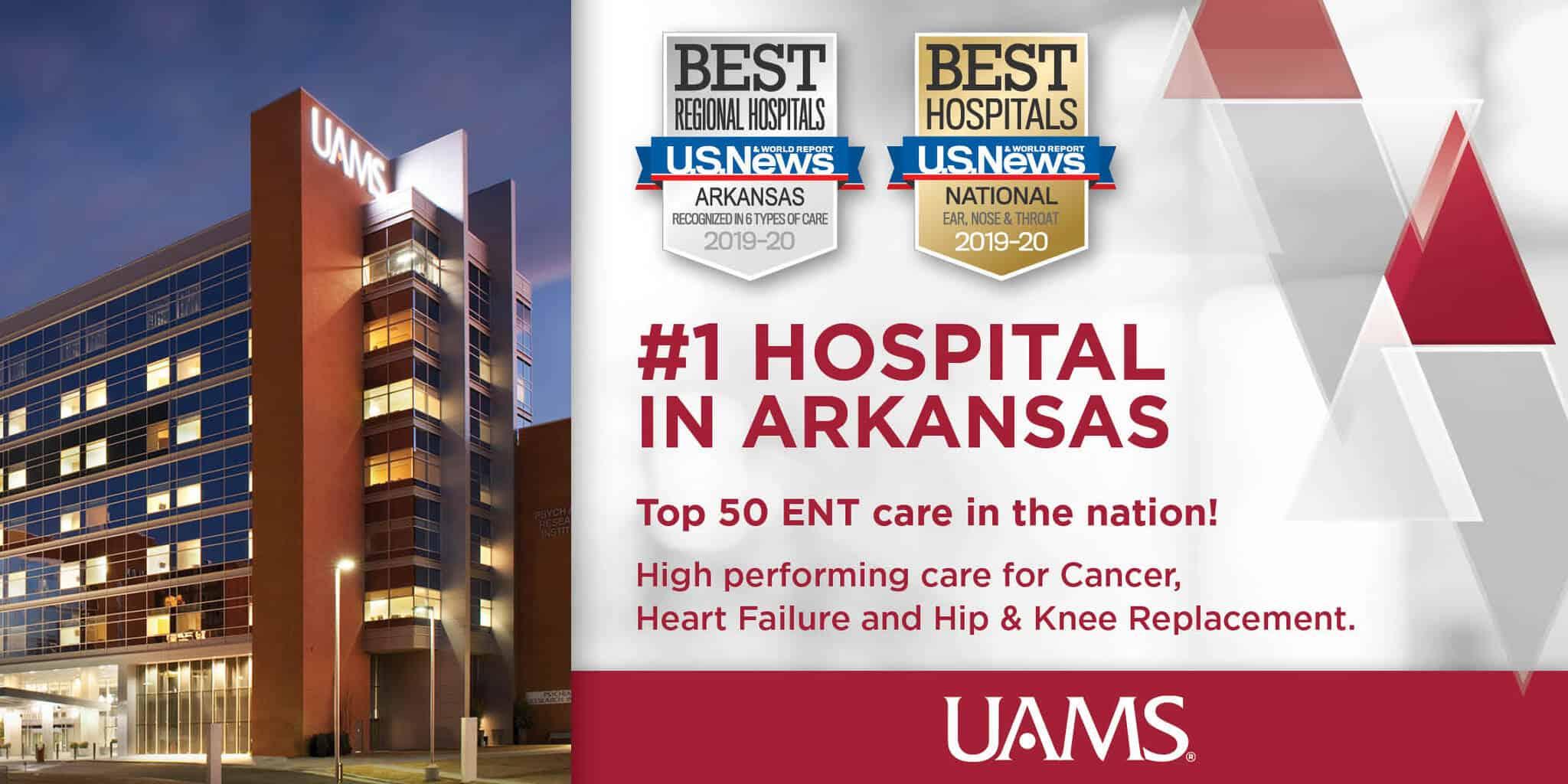 Badge honoring UAMS as No. 1 Hospital in Arkansas