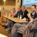 Shradda Thakkar, far left, moderates a panel discussion between Darin Jones, second from left, Robert Doerksen, Pravin Chaturverdi, James Sumpter and Cesar Compadre. The panel was part of the Drug Discovery & Development Colloquium at UAMS.