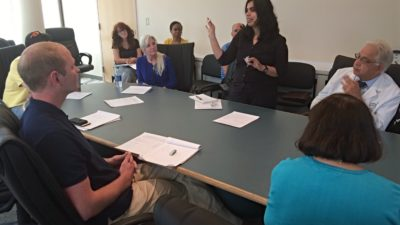 Astha Malhotra, Ph.D., discusses her research in 3-D printing and tissue regeneration during a kick-off meeting of the entrepreneurship training program.