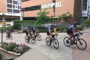 A group of nearly 30 students from The University of Texas at Austin in Texas riding the 2019 Texas 4000 for Cancer charity bike ride arrived June 16 to visit patients and staff members at the UAMS Winthrop P. Rockefeller Cancer Institute.  The group, one of three from the university, are cycling from Austin to Anchorage, Alaska. <i>Photo credit, Linda Haymes</i>
