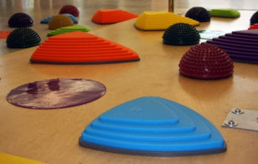 Close up of physical therapy floor obstacles