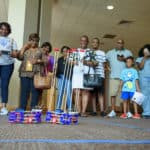 Student-built robots battles for an audience at the conclusion of the UAMS NERDIES Health Sciences Camp.