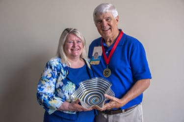 College of Nursing Dean Patricia Cowan, Ph.D., R.N., presented the Distinguished Alumnus Award to Michael Carter, B.S.N., CON '69.