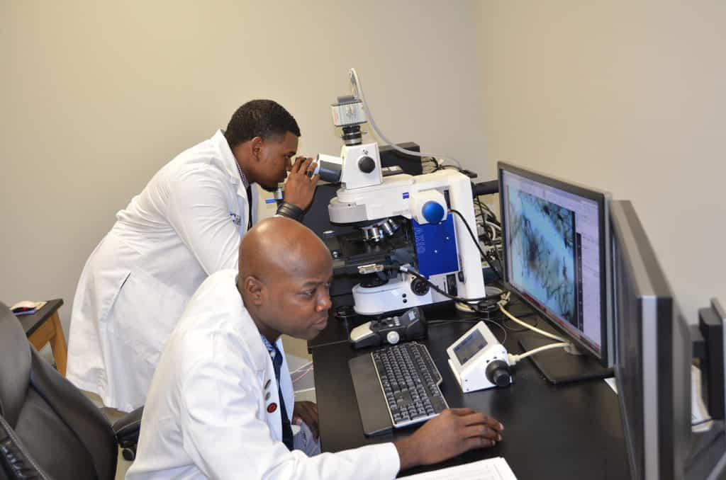 INBRE Summer Research Fellow Huddoy Walters (back) works with mentor Antino Allen, Ph.D., in his lab at UAMS.