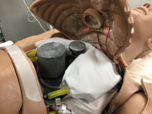 HAL, a high-fidelity manikin, is filled with electronics and sensors to replicate the vitals of a real patient.