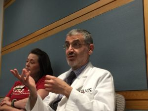 Sami Uwaydat, M.D., answering a participant's question about diabetic retinopathy.