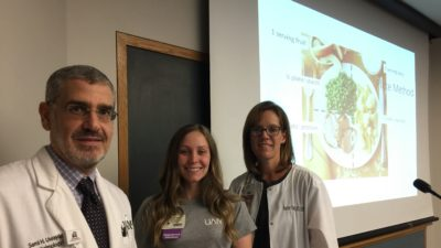 Sami Uwaydat, Cayla-Marie Jackson and Heather Vines in front of a presentation slide showing how to create a healthy, balanced plate of food.
