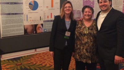 (From left) Marjorie David, M.D.; Gayle Dicker; and Jerad Gardner, M.D., presented their research at the 2016 American Society of Dermatopathology Annual Meeting in Chicago. Dicker was one of five patients with dermatofibrosarcoma protuberans who served on a Patient Advisory Board for the study.