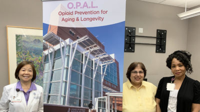 The new Opioid Prevention for Aging & Longevity program at the UAMS Reynolds Institute on Aging is led by Jeanne Wei, M.D., Ph.D., left, along with Gohar Azhar, M.D., and Regina Gibson, Ph.D.