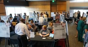The first UAMS Research Expo drew about 150 attendees.