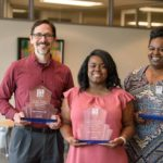 Dr. Edith Irby Jones Excellence in Diversity and Inclusion Award winners (from left) Gregory Robinson, Ph.D., Danviona King and April Hughes.