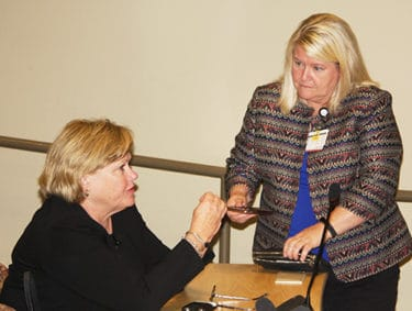 Mandrell and UAMS College of Nursing Dean Patricia Cowan, Ph.D., R.N., talk before Mandrell delivers her lecture.