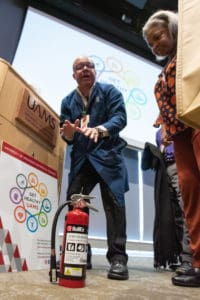 Jeffery Edwards from Occupational Health and Safety explains how to use a fire extinguisher.