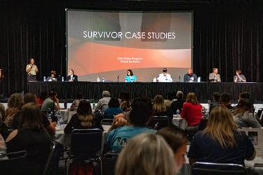 Stroke survivors share their stories as part of a panel discussion at the conference.