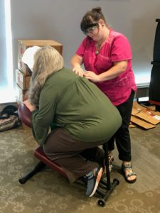 Massage therapists from Arkansas Healing Arts offered 10-minute chair massages during the fair.