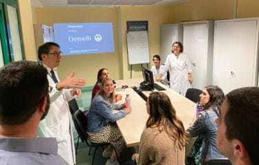 They toured the Agostino Gemelli University Policlinico, a large teaching hospital in Rome, and each student was required to approach three different pharmacies and learn about how pharmacy practice was done in each.