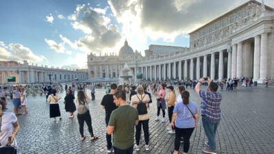 Fourth-year College of Pharmacy students visit St. Peter's Square during a one-month rotation.