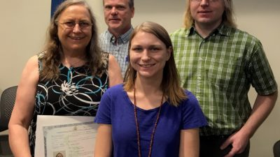 Leonie DeClerk, D.N.P., RN, APRN, and her family at the naturalization ceremony in Memphis.