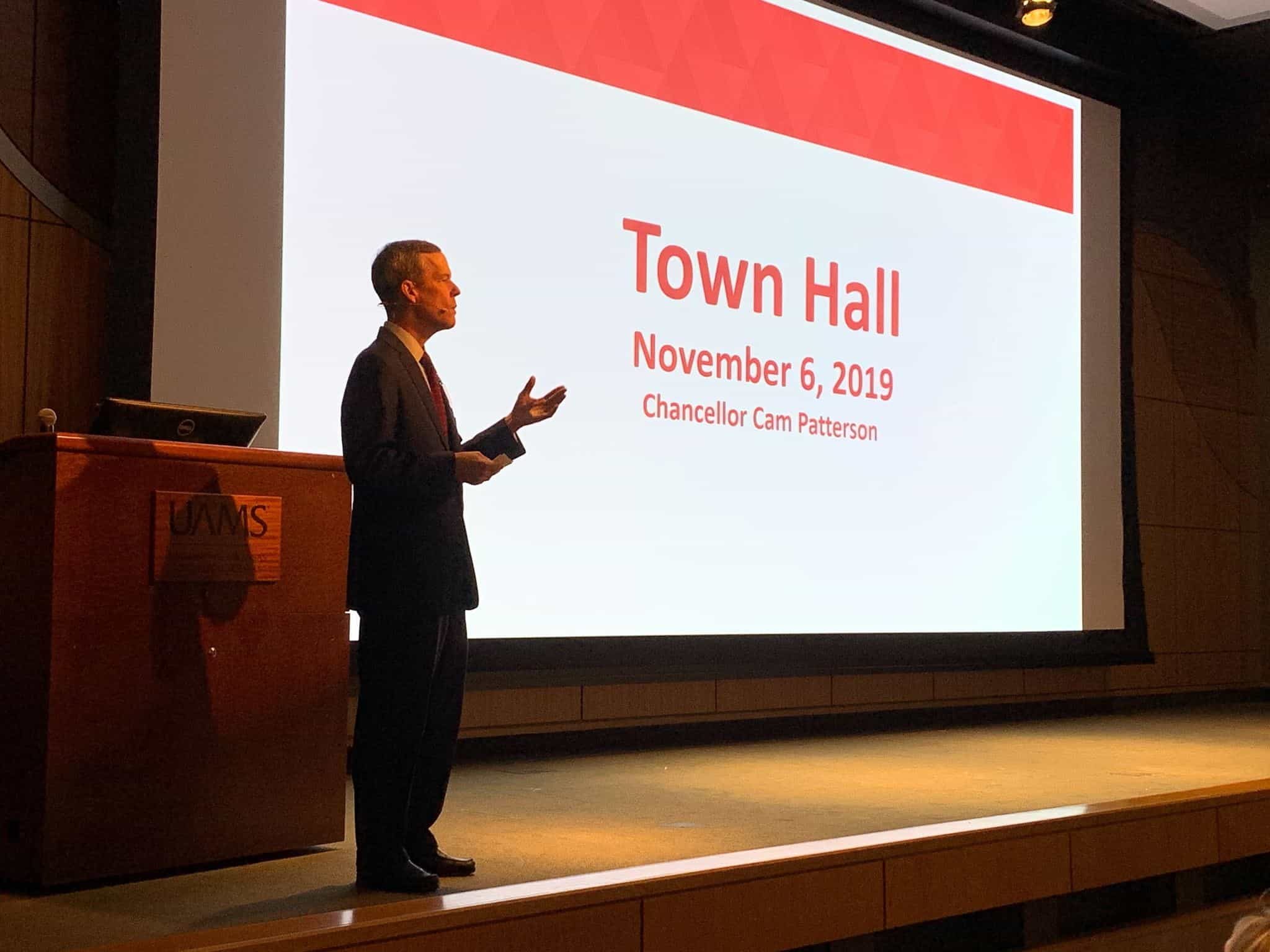 Chancellor Cam Patterson, M.D., MBA, spoke to employees about UAMS Health and other important topics during a Nov. 6 Town Hall meeting.